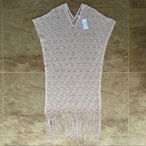 Eberjey   Blush Pink Crochet Coverup with Fringe